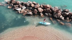 漂浮在冲浪板的年轻被晒黑的人 冲浪在沙滩附近的嬉戏男孩 男孩鸟瞰图supboard的 b寄生虫射击  股票视频