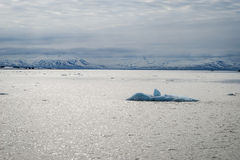 漂浮在北极海的冰山在斯瓦尔巴特群岛 库存照片