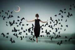 漂浮在天空中的巫婆 库存图片