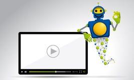 漂浮在录影屏幕旁边的蓝色和黄色机器人灵魔单手做好标志的 库存例证