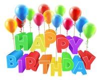 漂浮在气球的生日快乐 免版税图库摄影