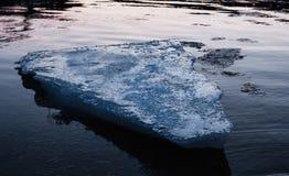 漂浮在河的蓝色冰块 免版税库存照片