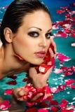 漂浮在游泳池的妇女 免版税库存图片
