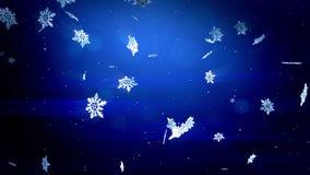 漂浮在空气和亮光的发光的3d雪花在蓝色背景的晚上 作为生气蓬勃的圣诞节,新年卡片的用途 皇族释放例证