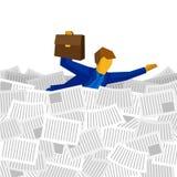 漂浮在纸和文件海的商人  免版税库存图片