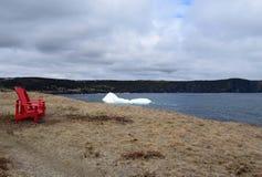 漂浮在纽芬兰海岸线附近的冰山 库存图片