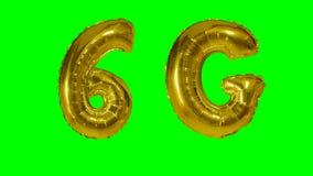 漂浮在绿色屏幕上的技术6G流动网络金气球- 股票视频