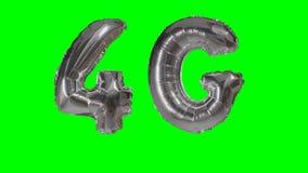 漂浮在绿色屏幕上的技术4G流动网络银色气球- 股票视频