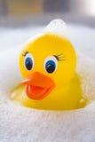 漂浮在肥皂suds的黄色橡胶鸭子 免版税库存照片