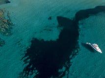 漂浮在透明海的一条被停泊的小船的鸟瞰图 可西嘉岛 法国 图库摄影