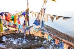 漂浮在风的祈祷的旗子 图库摄影