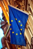 漂浮在风的EU旗子 免版税库存图片