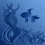 漂浮在水生植物附近的鱼的构成 免版税库存照片