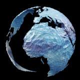 漂浮白色和蓝色行星接地网络3D翻译 免版税库存图片