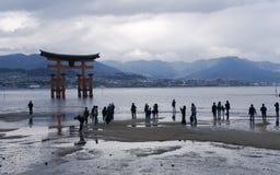 漂浮Torii门的Itsukushima 库存照片