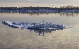 漂移在河的冰 库存照片