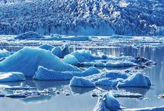 漂移在Fjallsarlon瓦特纳冰原墙壁毗邻的冰川湖水表面的小冰山玻璃状在 免版税库存图片