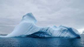 漂移在Peterman海岛附近的冰山在南极洲 库存照片