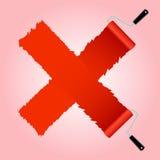 从漆滚筒刷子的红十字标志 免版税库存照片