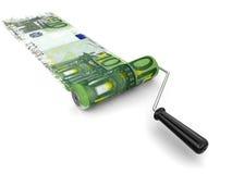 漆滚筒和欧元(包括的裁减路线) 免版税库存照片