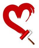 漆滚筒和红色心脏 库存图片