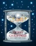 滴漏圣诞节和新年与房子的背景 库存图片