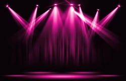 演出光 与确定桃红色紫罗兰色聚光灯通过dar 库存照片
