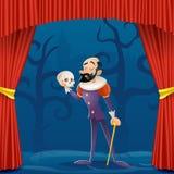 演员人中世纪衣服悲剧的剧院帷幕阶段漫画人物设计传染媒介例证 库存例证