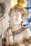 演员成龙的雕象Wat的Pariwat,曼谷 免版税库存照片