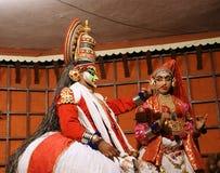 演员舞蹈kathakali tradional 高知(科钦),印度 库存图片