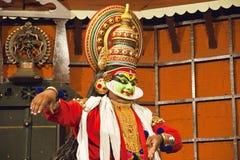 演员舞蹈kathakali tradional 高知(科钦),印度 免版税库存图片