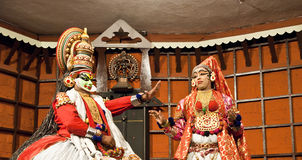 演员舞蹈kathakali tradional 高知(科钦),印度 库存照片