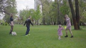 演奏与他们孩子的两个母亲在自然的绿色惊人的公园在春日 妈妈和儿子,使用在的女儿 影视素材