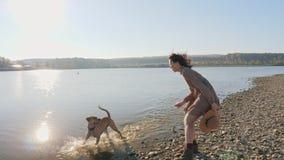 演奏与她逗人喜爱的狗的可爱的年轻女人赛跑在自然在湖附近 影视素材