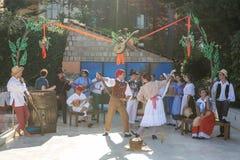 演奏与木头, goa小手鼓的意大利音乐家塔兰台拉舞  免版税库存照片