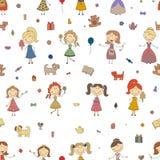 演奏传染媒介的小女孩 孩子动画片图画  女儿和母亲 女孩无缝的样式背景 免版税库存照片