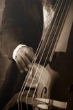 演奏低音提琴的音乐家 库存照片