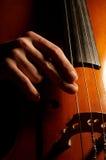 演奏低音提琴的音乐家 库存图片