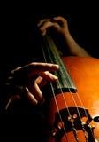 演奏低音提琴的音乐家 免版税库存照片
