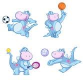 演奏体育的恐龙 免版税库存图片