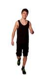演奏体育的青少年的男孩,跑步。 隔绝在白色 免版税库存照片