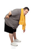 演奏体育运动的肥胖人 免版税库存图片