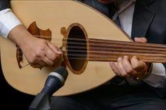 演奏关于琵琶的音乐家的手笔记 免版税库存照片