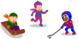演奏冬天的比赛孩子 库存图片