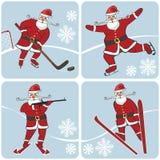 演奏冬季体育的圣诞老人 滑冰,滑雪,曲棍球, 免版税库存图片
