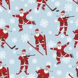 演奏冬季体育的圣诞老人 无缝的模式 免版税库存照片