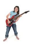 演奏前青少年的年轻人的3个女孩吉他 免版税库存图片