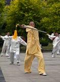 演奏剑taiji的长辈 免版税图库摄影
