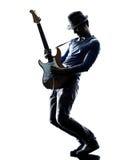 演奏剪影的人电吉他弹奏者球员 免版税库存图片