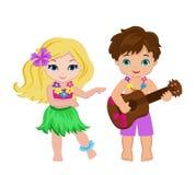 演奏吉他和夏威夷女孩hula跳舞的男孩的例证 免版税库存图片